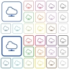 Cloud network outlined flat color icons - Cloud network color flat icons in rounded square frames. Thin and thick versions included.