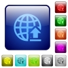 Upload to internet color square buttons - Upload to internet icons in rounded square color glossy button set