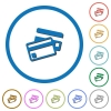 Credit cards icons with shadows and outlines - Credit cards flat color vector icons with shadows in round outlines on white background