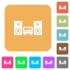 Stereo system rounded square flat icons - Stereo system flat icons on rounded square vivid color backgrounds.