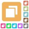 Overlapping elements rounded square flat icons - Overlapping elements flat icons on rounded square vivid color backgrounds.