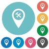 Workshop service GPS map location flat round icons - Workshop service GPS map location flat white icons on round color backgrounds