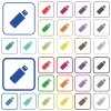 Pendrive outlined flat color icons - Pendrive color flat icons in rounded square frames. Thin and thick versions included.