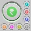 Indian Rupee sticker push buttons - Indian Rupee sticker color icons on sunk push buttons