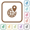 GPS location simple icons - GPS location simple icons in color rounded square frames on white background