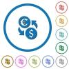 Euro Dollar money exchange icons with shadows and outlines - Euro Dollar money exchange flat color vector icons with shadows in round outlines on white background