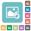 Image tagging white flat icons on color rounded square backgrounds - Image tagging rounded square flat icons