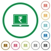 Laptop with Rupee sign flat icons with outlines - Laptop with Rupee sign flat color icons in round outlines on white background
