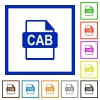 CAB file format flat framed icons - CAB file format flat color icons in square frames on white background