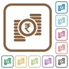 Indian Rupee coins simple icons - Indian Rupee coins simple icons in color rounded square frames on white background