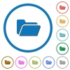Folder open flat color vector icons with shadows in round outlines on white background - Folder open icons with shadows and outlines