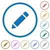 Pencil with rubber icons with shadows and outlines - Pencil with rubber flat color vector icons with shadows in round outlines on white background