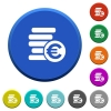 Euro coins beveled buttons - Euro coins round color beveled buttons with smooth surfaces and flat white icons