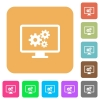 Screen settings rounded square flat icons - Screen settings flat icons on rounded square vivid color backgrounds.