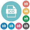 ICO file format flat round icons - ICO file format flat white icons on round color backgrounds