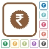 Indian Rupee sticker simple icons - Indian Rupee sticker simple icons in color rounded square frames on white background