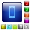Cellphone with blank display color square buttons - Cellphone with blank display icons in rounded square color glossy button set