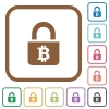 Locked Bitcoins simple icons - Locked Bitcoins simple icons in color rounded square frames on white background