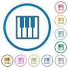 Piano keyboard flat color vector icons with shadows in round outlines on white background - Piano keyboard icons with shadows and outlines