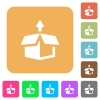 Unpack rounded square flat icons - Unpack flat icons on rounded square vivid color backgrounds.