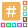 Hash tag rounded square flat icons - Hash tag flat icons on rounded square vivid color backgrounds.