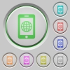 Mobile internet push buttons - Mobile internet color icons on sunk push buttons