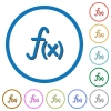 Function icons with shadows and outlines - Function flat color vector icons with shadows in round outlines on white background