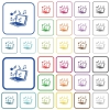 Laptop with music symbols outlined flat color icons - Laptop with music symbols color flat icons in rounded square frames. Thin and thick versions included.
