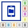 Smartphone data storage flat framed icons - Smartphone data storage flat color icons in square frames on white background