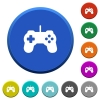 Game controller beveled buttons - Game controller round color beveled buttons with smooth surfaces and flat white icons