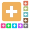 Add new item flat icons on rounded square vivid color backgrounds. - Add new item rounded square flat icons