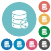 Database table relations flat round icons - Database table relations flat white icons on round color backgrounds