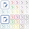 Blank notepad with pencil outlined flat color icons - Blank notepad with pencil color flat icons in rounded square frames. Thin and thick versions included.