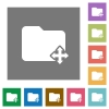 Move folder square flat icons - Move folder flat icons on simple color square backgrounds