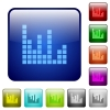 Sound bars color square buttons - Sound bars icons in rounded square color glossy button set