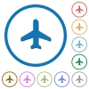 Airplane icons with shadows and outlines - Airplane flat color vector icons with shadows in round outlines on white background