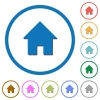 Home icons with shadows and outlines - Home flat color vector icons with shadows in round outlines on white background