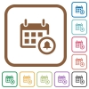 Calendar alarm simple icons - Calendar alarm simple icons in color rounded square frames on white background