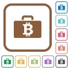 Bitcoin bag simple icons - Bitcoin bag simple icons in color rounded square frames on white background