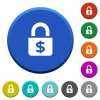 Locked Dollars beveled buttons - Locked Dollars round color beveled buttons with smooth surfaces and flat white icons