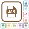 JAR file format simple icons in color rounded square frames on white background - JAR file format simple icons