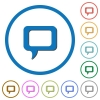 Comment icons with shadows and outlines - Comment flat color vector icons with shadows in round outlines on white background