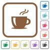 Cappuccino simple icons - Cappuccino simple icons in color rounded square frames on white background