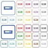 RAM module outlined flat color icons - RAM module color flat icons in rounded square frames. Thin and thick versions included.