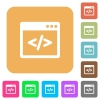Programming code in software window flat icons on rounded square vivid color backgrounds. - Programming code in software window rounded square flat icon