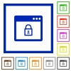 Lock application flat framed icons - Lock application flat color icons in square frames on white background