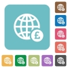 Online Pound payment rounded square flat icons - Online Pound payment white flat icons on color rounded square backgrounds
