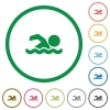 Swimming man flat icons with outlines - Swimming man flat color icons in round outlines on white background