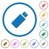 Pendrive flat color vector icons with shadows in round outlines on white background - Pendrive icons with shadows and outlines