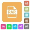 RAR file format rounded square flat icons - RAR file format flat icons on rounded square vivid color backgrounds.